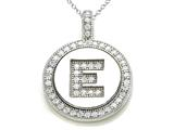 "Zoe R™ Sterling Silver Micro Pave Hand Set Cubic Zirconia (CZ) Letter ""E"" Initial Disc Pendant style: BM30633E"