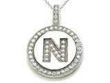 "Zoe R™ Sterling Silver Micro Pave Hand Set Cubic Zirconia (CZ) Letter ""N"" Initial Disc Pendant Necklace style: BM30633N"