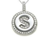 "Zoe R™ Sterling Silver Micro Pave Hand Set Cubic Zirconia (CZ) Letter ""S"" Initial Disc Pendant style: BM30633S"