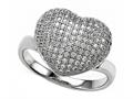 Zoe R™ 3D Sterling Silver Micro Pave Hand Set Cubic Zirconia (CZ) Heart Ring