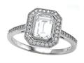 Zoe R™ 925 Sterling Silver Micro Pave Hand Set Cubic Zirconia (CZ) Halo Emerald Cut Center Engagement Ring