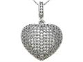 Zoe R™ 3D Sterling Silver Micro Pave Hand Set Cubic Zirconia (CZ) Heart Pendant