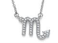 Zoe R™ Sterling Silver Micro Pave Hand Set Cubic Zirconia (CZ) Scorpio Zodiac Pendant Necklace On 18 Inch Adjustable Cha