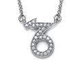 Zoe R™ Sterling Silver Micro Pave Hand Set Cubic Zirconia (CZ) Capricorn Zodiac Pendant Necklace On 18 Inch Adjustable C