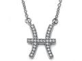 Zoe R™ Sterling Silver Micro Pave Hand Set Cubic Zirconia (CZ) Pisces Zodiac Pendant Necklace On 18 Inch Adjustable Chai
