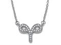 Zoe R™ Sterling Silver Micro Pave Hand Set Cubic Zirconia (CZ) Aries Zodiac Pendant Necklace On 18 Inch Adjustable Chain