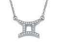 Zoe R™ Sterling Silver Micro Pave Hand Set Cubic Zirconia (CZ) Gemini Zodiac Pendant Necklace On 18 Inch Adjustable Chai