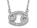 Zoe R™ Sterling Silver Micro Pave Hand Set Cubic Zirconia (CZ) Cancer Zodiac Pendant Necklace On 18 Inch Adjustable Chai