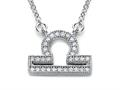 Zoe R™ Sterling Silver Micro Pave Hand Set Cubic Zirconia (CZ) Libra Zodiac Pendant Necklace On 18 Inch Adjustable Chain