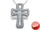 Zoe R™ Sterling Silver Micro Pave Hand Set Cubic Zirconia (CZ) Small Cross Pendant Necklace style: BM302332