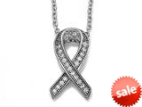 Zoe R™ 925 Sterling Silver Micro Pave Hand Set Cubic Zirconia (CZ) Ribbon Pendant Necklace style: BM30450