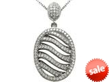 Zoe R™ 3D Sterling Silver Micro Pave Hand Set Cubic Zirconia (CZ) Pendant Necklace style: BM30459