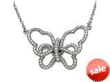 Zoe R™ Sterling Silver Micro Pave Hand Set Cubic Zirconia (CZ) Butterfly Pendant Necklace style: BM30480W