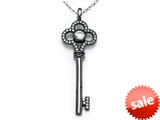 Zoe R™ Black Rhodium And Sterling Silver Micro Pave Hand Set Cubic Zirconia (CZ) Key Pendant style: BM30513