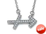 Zoe R™ Sterling Silver Micro Pave Hand Set Cubic Zirconia (CZ) Sagittarius Zodiac Pendant On 18 Inch Adjustable C style: BM3082011