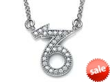 Zoe R™ Sterling Silver Micro Pave Hand Set Cubic Zirconia (CZ) Capricorn Zodiac Pendant Necklace On 18 Inch Adjustable C style: BM3082012