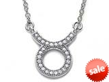 Zoe R™ Sterling Silver Micro Pave Hand Set Cubic Zirconia (CZ) Taurus Zodiac Pendant Necklace On 18 Inch Adjustable Chai style: BM308204