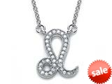 Zoe R™ Sterling Silver Micro Pave Hand Set Cubic Zirconia (CZ) Leo Zodiac Pendant Necklace On 18 Inch Adjustable Chain style: BM308207