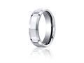 Benchmark® Cobalt Chrome™ 7mm Comfort-fit High Polished Beveled Edge Design Ring