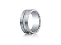 Benchmark® Argentium Silver 9mm Comfort-fit Satin-finished Center Channel Design Band