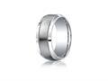 Benchmark® Argentium Silver 9mm Comfort-fit Satin-finished Center With Milgrain Design Band