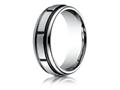 Benchmark® Cobalt Chrome™ 7mm Comfort-fit Satin-finished Round Edge Blackened Sectional Design Ring