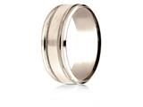 Benchmark® 14 Karat Rose Gold 8mm Comfort-fit Drop Bevel Satin Finish Milgrain Design Band style: CF188013S14KR