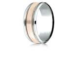 Benchmark® 14k Two-toned 8mm Comfort-fit Drop Bevel Satin Finish Milgrain Design Band style: CF228013S