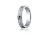 Benchmark® Argentium Silver 5mm Comfort-fit 6-stone Black Diamond Band style: CF65385SV