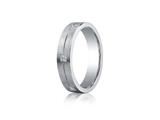 <b>Engravable</b> Benchmark® Argentium Silver 5mm Comfort-fit 6-stone Diamond Design Band style: CF65386SV
