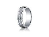 <b>Engravable</b> Benchmark® Argentium Silver 7mm Comfort-fit Pave Set 9-stone Diamond Design Band style: CF67380SV