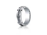 <b>Engravable</b> Benchmark® Argentium Silver 7mm Comfort-fit Pave Set 9-stone Black Diamond Design Band style: CF67381SV