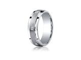 <b>Engravable</b> Benchmark® Argentium Silver 7mm Comfort-fit Pave Set 6-stone Diamond Design Band style: CF67382SV