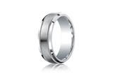 Benchmark® Argentium Silver 7mm Comfort-fit Satin-finished Center With Milgrain Design Band style: CF67438SV