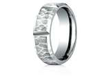 <b>Engravable</b> Benchmark® Palladium 7mm Comfort-fit Hammered Finish Grooved Carved Design Band style: CF67468PD