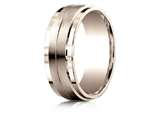 Benchmark® 14k Rose Gold 8mm Comfort-fit Drop Bevel Satin Center Design Band style: CF6835214KR