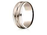 Benchmark® 14k Rose Gold 8mm Comfort-fit Drop Bevel Satin Center Cut Design Band style: CF6848414KR