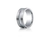 Benchmark® Argentium Silver 9mm Comfort-fit Satin-finished Center Channel Design Band style: CF69353SV