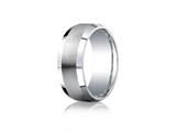 <b>Engravable</b> Benchmark® Argentium Silver 9mm Comfort-fit Satin-finished Beveled Edge Design Band style: CF69416SV