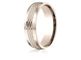 Benchmark® 14 Karat Rose Gold 6.5mm Comfort-fit Mesh Center Satin Finish Edge Design Band style: CF71650714KR