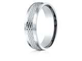 Benchmark® Palladium 6.5mm Comfort-fit Mesh Center Satin Finish Edge Design Band style: CF716507PD