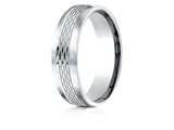 Benchmark® Palladium 6.5mm Comfort-fit Mesh Center Satin Finish Edge Design Band style: CF716507PD