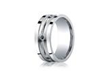 <b>Engravable</b> Benchmark® Argentium Silver 9mm Comfort-fit Square-Edge Black Diamond Band style: CFSE59179SV