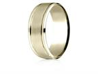 Benchmark 14 Karat Yellow Gold 8mm Comfort-fit Drop Bevel Satin Finish Design Band Style number: CF188010