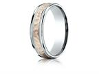 Benchmark 14 kt Two Tone Goldd 6mm Comfort-fit Hammer Finish Design Band Style number: CF216308