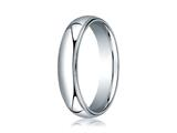 Benchmark® 18k White Gold 5mm Slightly Domed Standard Comfort-fit Ring With Milgrain style: LCF35018K