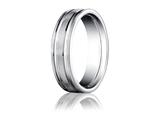 <b>Engravable</b> Benchmark® Platinum 6mm Comfort-fit Satin-finished With Parallel Grooves Carved Design Band style: PTCF66423P