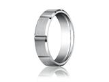 <b>Engravable</b> Benchmark® Platinum 6mm Comfort-fit Satin-finished Grooves Carved Design Band style: PTCF66449P