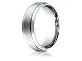 Benchmark® Platinum 7mm Comfort-fit Satin-finished With High Polished Drop Edge Carved Design Band style: PTCF67351P