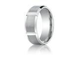 <b>Engravable</b> Benchmark® Platinum 8mm Comfort-fit Satin-finished Grooves Carved Design Band style: PTCF68449P